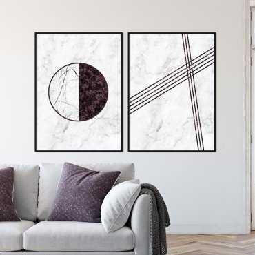 Zestaw dwóch plakatów - BURGUNDY DESIGN