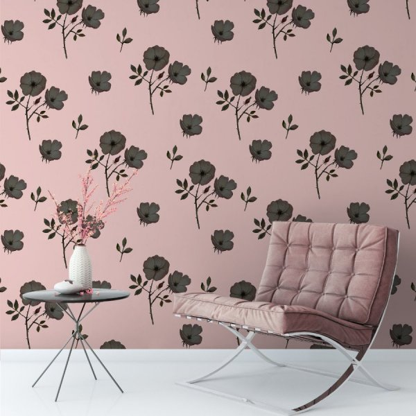 Tapeta na ścianę - PINK-BLACK FLOWERS