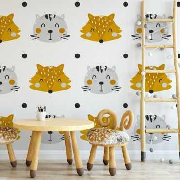 Tapeta dziecięca - CAT AND FOX