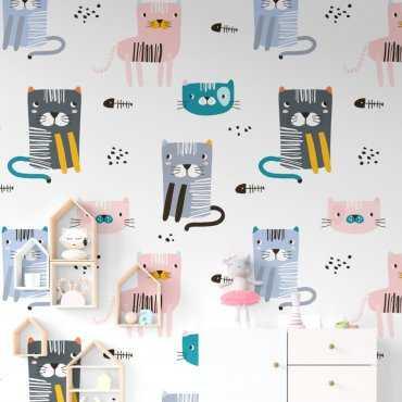 Tapeta dziecięca - HUNGRY CATS