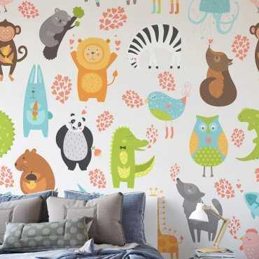 ZWIERZĄTKA - Designerska tapeta ścienna dla dzieci