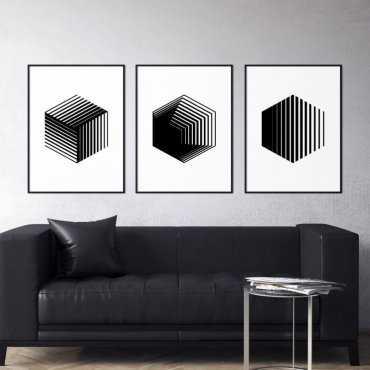 Zestaw trzech plakatów - HEXAGON 3D