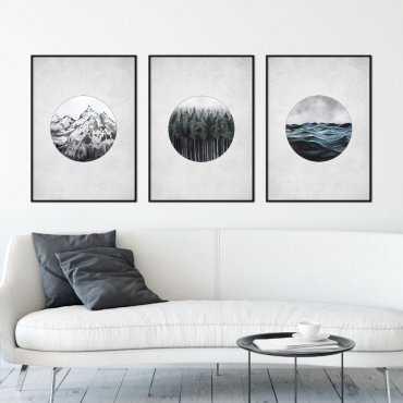 Zestaw trzech plakatów - NATURE ELEMENTS