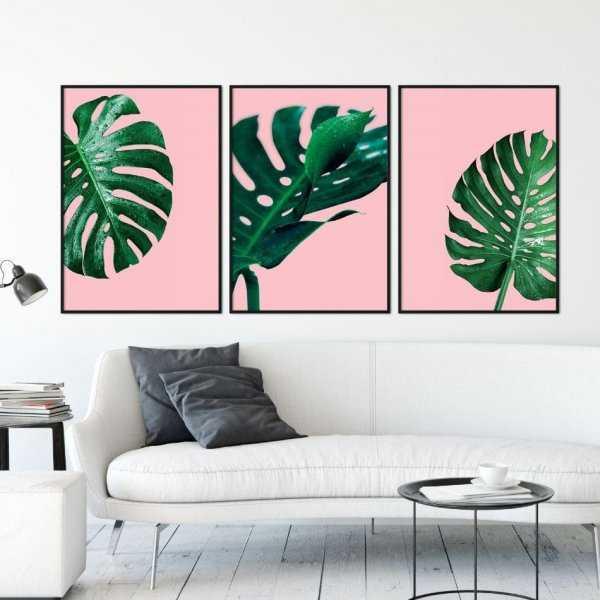 Zestaw trzech plakatów - MONSTERA PINK