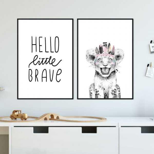 Zestaw plakatów dziecięcych - HELLO LITTLE BRAVE