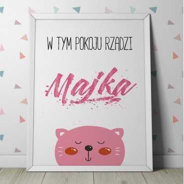 W TYM POKOJU RZĄDZI - Personalizowany plakat z kotkiem