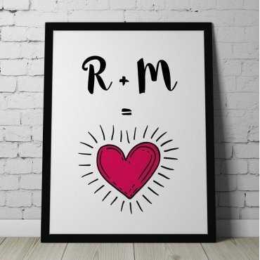 MIŁOSNE INICJAŁY - Personalizowany plakat dla pary
