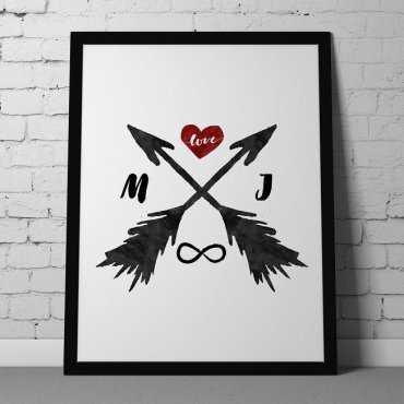 MIŁOSNE STRZAŁY - Personalizowany plakat miłosny