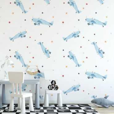 blue planes tapeta dla dzieci