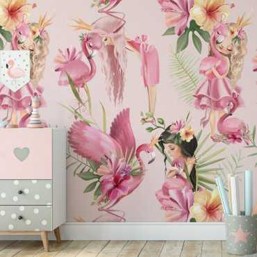 flamingo kingdom tapeta dziewczęca