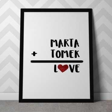 MIŁOSNE RÓWNANIE - Personalizowany plakat dla pary