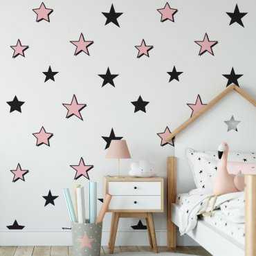 girlstars tapeta w różowo-czarne gwiazdki
