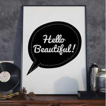 HELLO BEAUTIFUL - Plakat Typograficzny