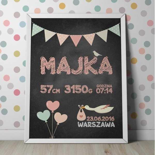 METRYCZKA DLA DZIECKA - Plakat personalizowany w ramie