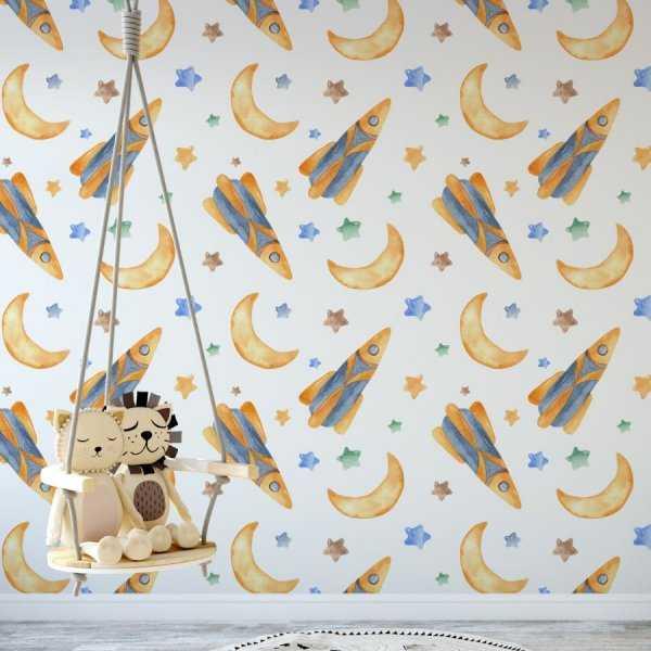 tapeta dla dzieci rocket moon