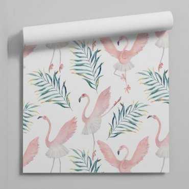 ballerina flamingos tapeta dla dzieci