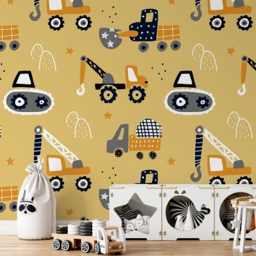 bulldozers art tapeta dla dzieci
