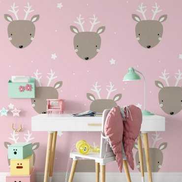 deers in pink tapeta dla dzieci