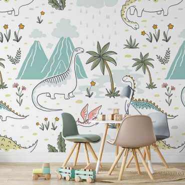 Dinosaurs nature tapeta na ścianę