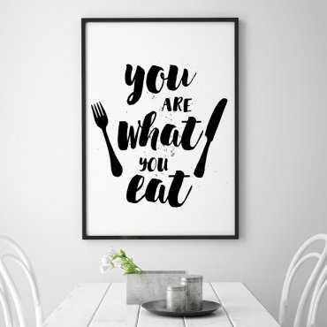 YOU ARE WHAT YOU EAT - Plakat typograficzny w ramie
