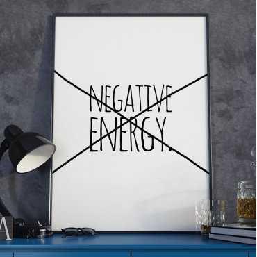 NEGATIVE ENERGY - Plakat typograficzny w ramie