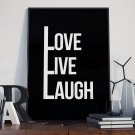 LOVE LIVE LAUGH - Plakat z napisami w ramie