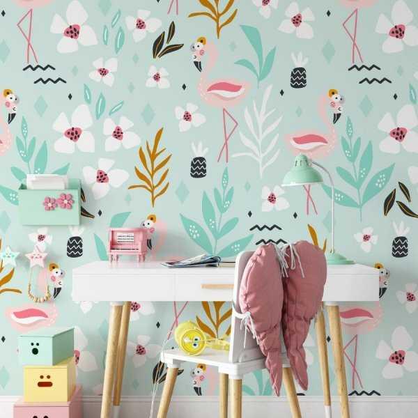 minty flamingos tapeta dla dzieci