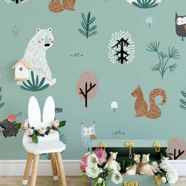 minty forest tapeta dla dzieci