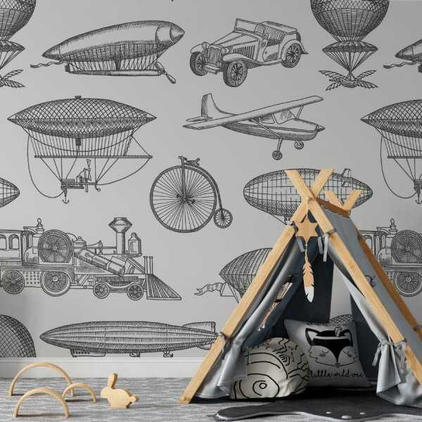 retro vehicles tapeta dla dzieci