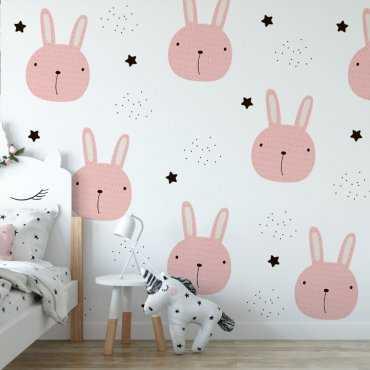 starry pink rabbits tapeta dla dzieci