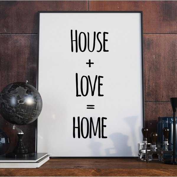 HOUSE LOVE HOME - Plakat Typograficzny
