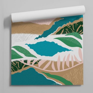 abstract jungle leaves tapeta na ścianę