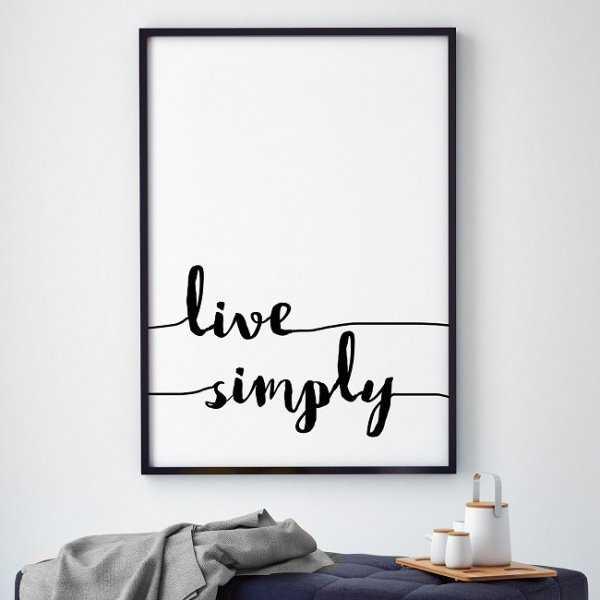 LIVE SIMPLY - Plakat typograficzny w ramie