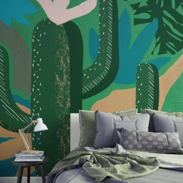 tapeta na ścianę artistic cactus