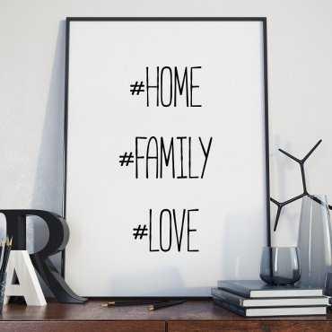HOME LOVE FAMILY - Plakat typograficzny w ramie