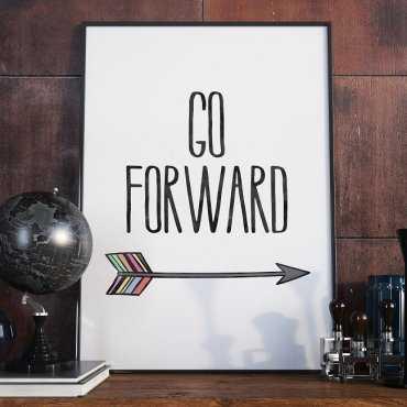 GO FORWARD - Plakat typograficzny w ramie