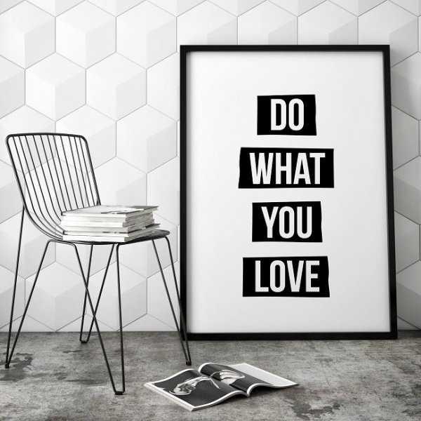 DO WHAT YOU LOVE - Nowoczesny plakat w ramie