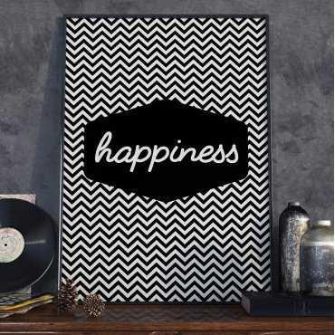 HAPPINESS - Plakat Typograficzny