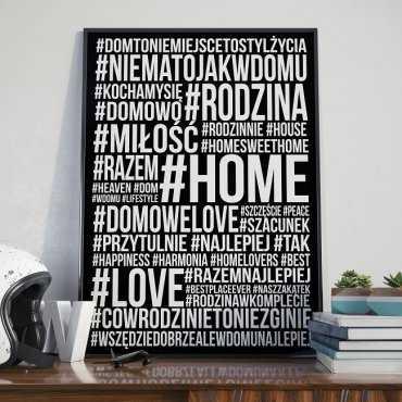 HASHTAG HOME - Plakat typograficzny w ramie