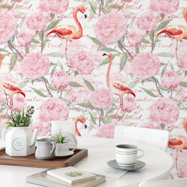 tapeta we flamingo flamingo peonies