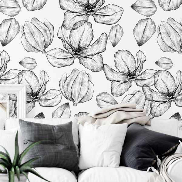 tapeta na ściane flowers sketch