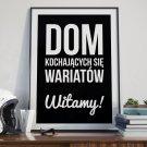 DOM KOCHAJĄCYCH SIĘ WARIATÓW, WITAMY! - Plakat Typograficzny