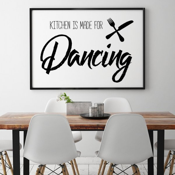Kitchen Is Made For Dancing Plakat W Ramie