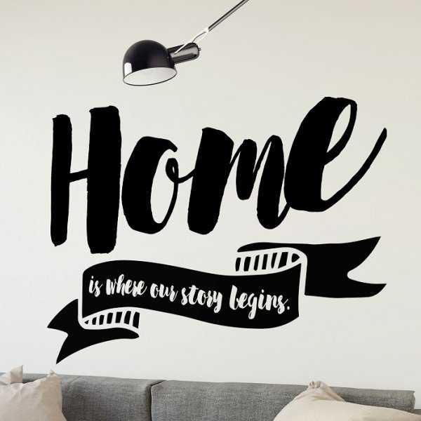 HOME IS WHERE OUR STORY BEGINS - Naklejka ścienna