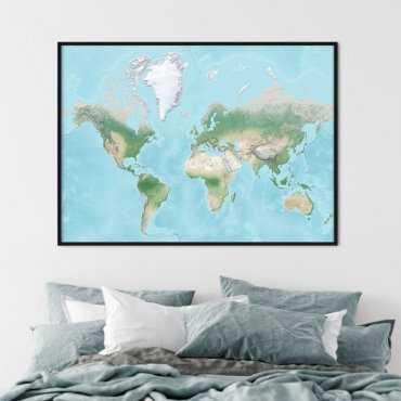 plakat mapa fizyczna świata