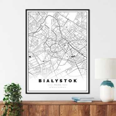 plakat z mapą Białegostoku