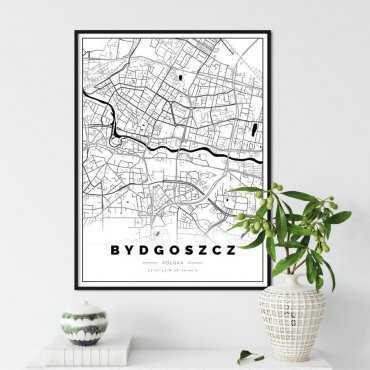 plakat z mapą bydgoszczy
