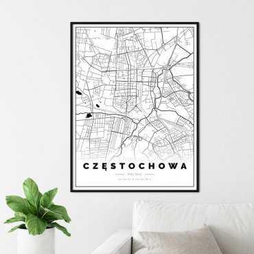 plakat z mapą częstochowy