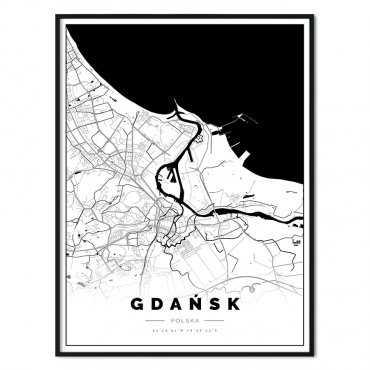 plakat z mapą Gdańska