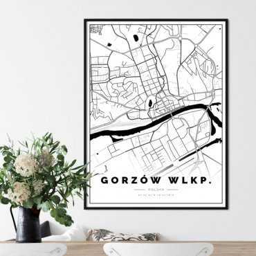 plakat z mapą Gorzowa wlkp.